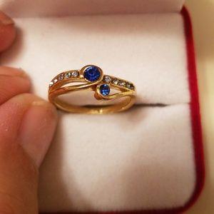 Jewelry - Nib 925 Gold Dipped Sapphire & Diamond Ring Size 6